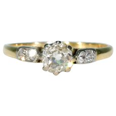 Antique Diamond Solitaire Engagement Ring 18k Platinum