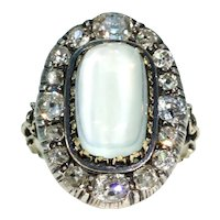 Stunning Victorian Diamond Moonstone Cluster Ring 18k Gold Silver