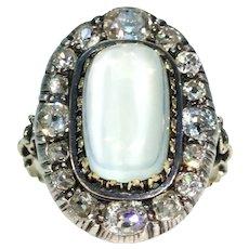 Stunning Victorian Diamond Moonstone Cluster Ring 18k Gold Silver