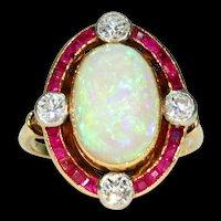 Vintage French Opal Ruby Diamond Ring 18k Gold