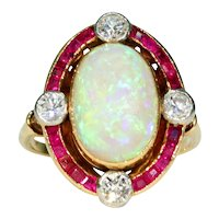 Vintage French Opal Ruby Diamond Ring 18k Gold