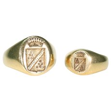 Pair of Matching French Signet Rings Antique 18k Gold Seal Intaglio