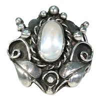 Antique Arts & Crafts Moonstone Silver Ring