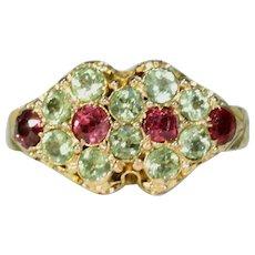 Victorian Garnet Chrysoberyl Ring 15k Gold