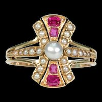 Antique Victorian Ruby Pearl Gold Ring