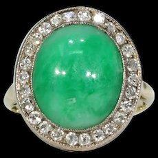 Edwardian Jade Diamond Cluster Ring 18k Gold Platinum