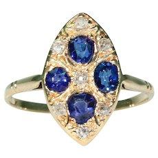Antique Victorian Sapphire Diamond Ring 14k Gold
