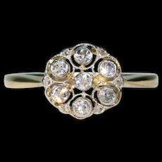 Antique Edwardian Diamond Cluster Ring 18k Gold Platinum