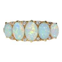 Fabulous Edwardian 5 Opal Diamond Ring 18k Gold