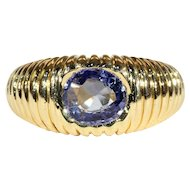 Vintage French Sapphire Retro Ring in 18k Gold, Engagement or Wedding Band