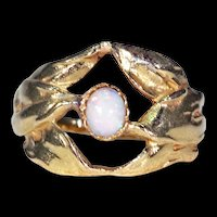 Antique Opal Art Nouveau Ring 18k Gold