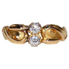 Art Nouveau French Diamond Bypass Ring Cat Tail Motif
