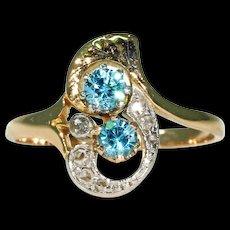 Fantastic Edwardian Zircon and Diamond Ring 18K Platinum