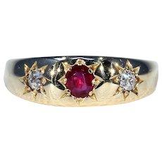 Edwardian Ruby Diamond 3 Stone Ring Stacking Ring