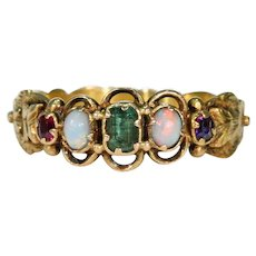 Victorian Opal Emerald Ruby Amethyst Ring 18k Gold
