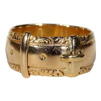 Antique Edwardian Gold Buckle Band Ring 18k Gold