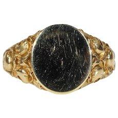 Gorgeous French Art Nouveau Signet Ring 18k Gold