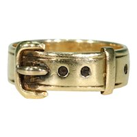 Victorian 18k Gold Buckle Ring English Hallmarked 1878