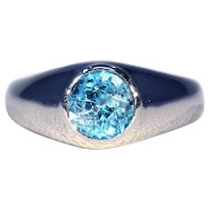 Vintage French Natural Blue Zircon Ring 18k White Gold