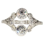 Superb Vintage Art Deco Diamond and Platinum Ring, 1.15ctw