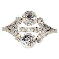 Superb Vintage Art Deco Diamond and Platinum Ring, 1.15ctw