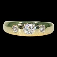 Old European Diamond 3 Stone Ring Gypsy Hallmarked
