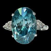 Art Deco Blue Zircon Diamond Ring Platinum
