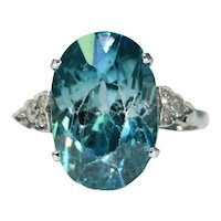 Art Deco Blue Zircon Diamond Ring Platinum
