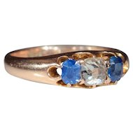 Antique 15k Victorian Sapphire and Diamond Ring, c.1880