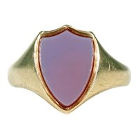Antique Victorian Sardonyx Shield Signet Ring 18K Gold, c. 1890