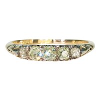 Edwardian 5 Colored Diamond Ring 18k Gold .99cttw