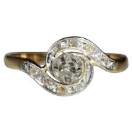 Antique European 18k and Platinum Rose Cut Diamond Tourbillion Ring c.1900
