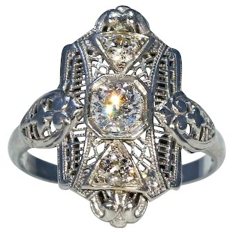 Vintage Art Deco Filigree Diamond Ring, 18k White Gold