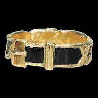 Victorian Black Enamel Memorial Ring Inscribed