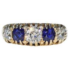 Stunning Victorian 5 Stone Diamond Sapphire Ring