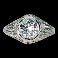 Art Deco Engagement Diamond Ring Filigree 14k White Gold