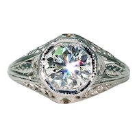 Art Deco Engagement Diamond Ring Filigree 14k White Gold