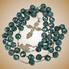 Antique Bloodstone Silver Rosary French