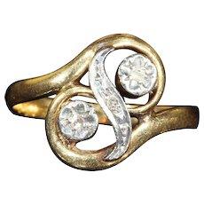 "Antique French Art Nouveau ""Toi et Moi"" Diamond Ring in 18k Gold"