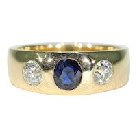 Victorian Sapphire Diamond Gentlemans Gypsy Ring 18k gold