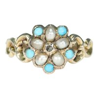 Antique Diamond Pearl Turquoise Cluster Ring Gold