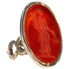 Victorian Gold Carnelian Woman with Wheat Fob Pendant