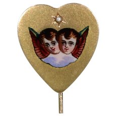Antique 18k Gold French Heart Shaped Stick Pin Enamel Angels