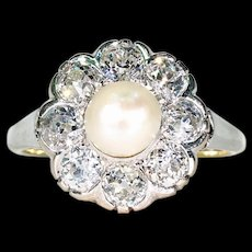Late Victorian Diamond Pearl Cluster Ring