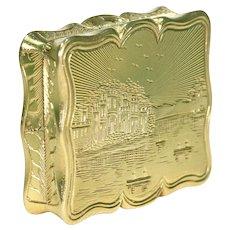 Mid-Victorian Silver Gilt Vinaigrette Pendant Engraved Castle