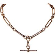 Heavy Antique Victorian 9k Rose Gold Watch Chain Necklace
