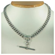 Victorian Sterling Silver Watch Chain Necklace Curb Link T Bar