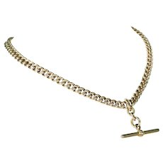 Victorian 9k Gold Watch Chain Necklace Double Albert