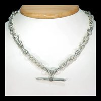 Victorian Silver Watch Chain Intricate Link Necklace