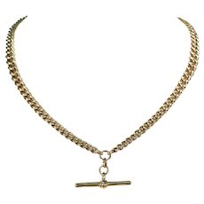 Antique Edwardian 9k Gold Watch Chain Necklace, 17.5 Inches
